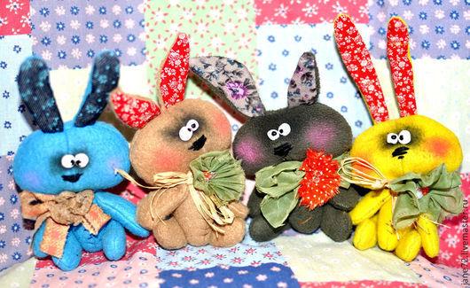 Игрушки животные, ручной работы. Ярмарка Мастеров - ручная работа. Купить Мини - зайки, мини - мишки.. Handmade. Желтый, флис