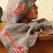 Аксессуары ручной работы. Ярмарка Мастеров - ручная работа Зимний валяный комплект из Оренбургского козьего пуха. Handmade.