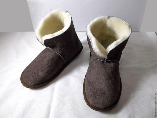 Обувь ручной работы. Ярмарка Мастеров - ручная работа. Купить Чуни из натуральной овчины коричневые. Handmade. Чуни из овчины, овчина