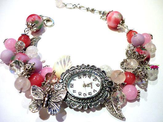 """Часы ручной работы. Ярмарка Мастеров - ручная работа. Купить Часы """"Мотыльки в Карамели"""". Handmade. Розовый, бабочки, пышный браслет"""