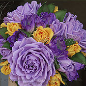 Цветы и флористика ручной работы. Ярмарка Мастеров - ручная работа Интерьерная композиция с розами и эустомой из фоамирана. Handmade.
