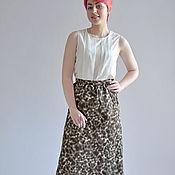 Одежда handmade. Livemaster - original item Easy summer skirt brown spotted long. Handmade.