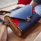 Классическая сумка ручной работы. Ярмарка Мастеров - ручная работа Женская кожаная сумка Bag Great Britain синяя красная. Handmade.