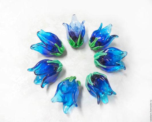 """Для украшений ручной работы. Ярмарка Мастеров - ручная работа. Купить бусины"""" Колокольчики"""". Handmade. Синий, синие цветы"""