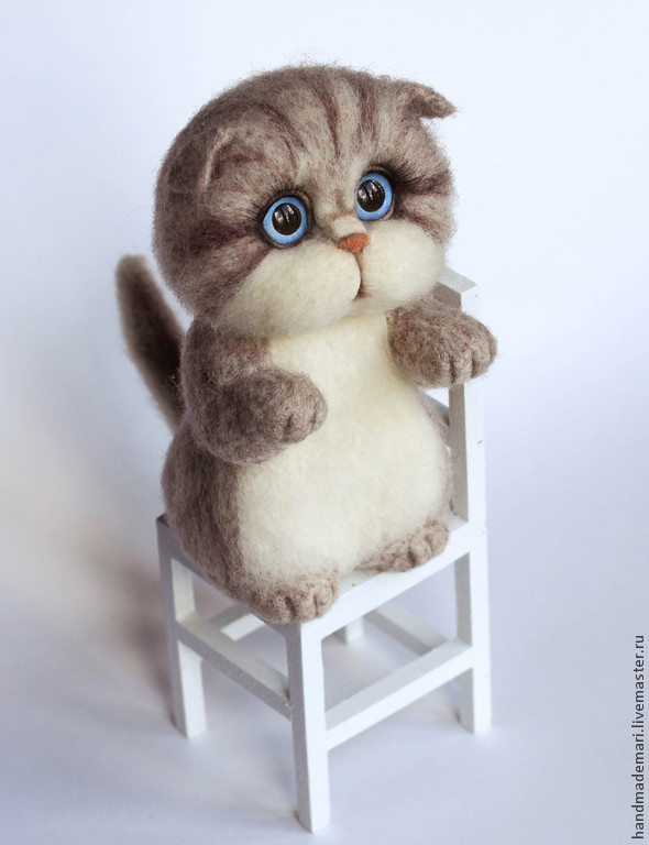 Kitty Beige stripey felted toy, Felted Toy, Moscow,  Фото №1