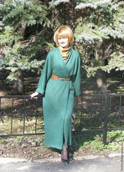 Верхняя одежда ручной работы. Ярмарка Мастеров - ручная работа. Купить Вязаное пальто Шерри. Handmade. Тёмно-зелёный