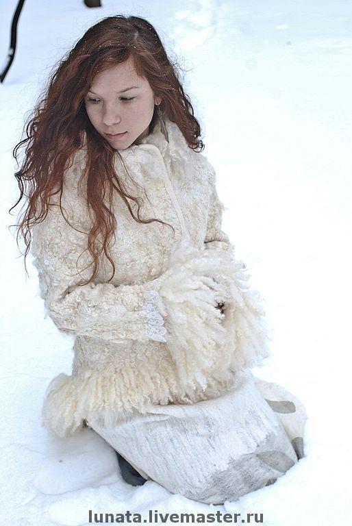 """Верхняя одежда ручной работы. Ярмарка Мастеров - ручная работа. Купить Цельноваляная шуба """"Frozen lace"""". Handmade. Одежда из войлока"""