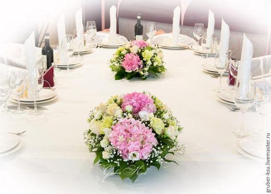 Свадебные цветы ручной работы. Ярмарка Мастеров - ручная работа. Купить Композиции из цветов на столы гостей. Handmade. Розовый