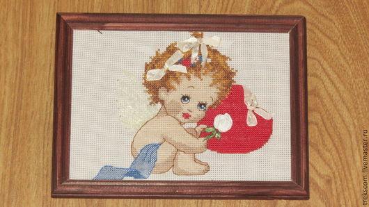 """Люди, ручной работы. Ярмарка Мастеров - ручная работа. Купить """"Малыш""""-Вышивка крестом и лентами. Handmade. Ангелочек, оригинальный подарок"""