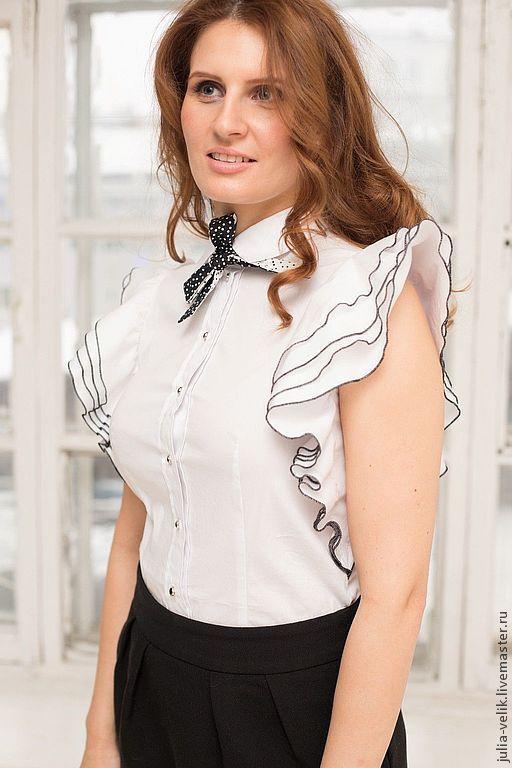 Блузки ручной работы. Ярмарка Мастеров - ручная работа. Купить Блузка-рубашка Хватай и беги. Handmade. Белый, блузка летняя