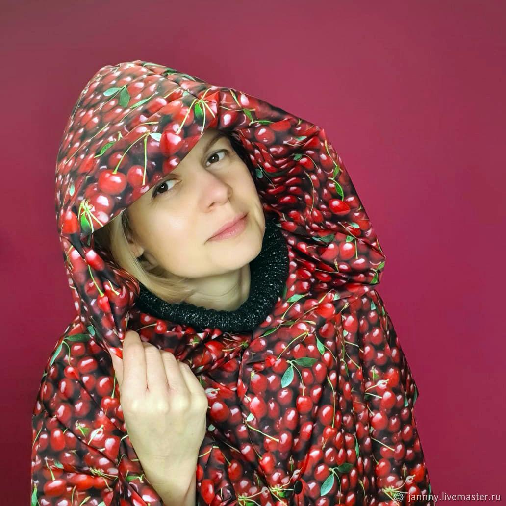 Demi-season down jacket-blanket 'Cherries', Down jackets, Moscow,  Фото №1