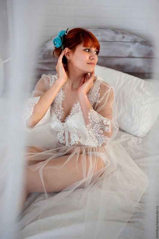 Белье ручной работы. Ярмарка Мастеров - ручная работа. Купить Будуарное платье для утра невесты. Handmade. Белый, фотосессия невесты