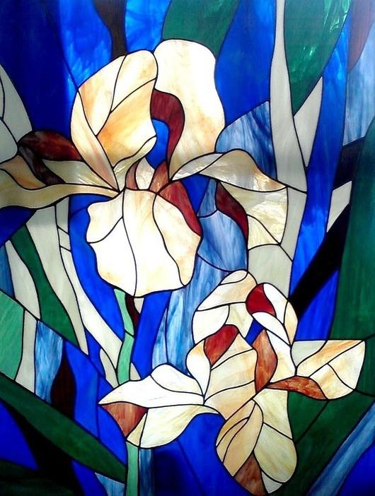 Элементы интерьера ручной работы. Ярмарка Мастеров - ручная работа. Купить Ирисы. Витраж. Handmade. Glass flowers, витражная картина