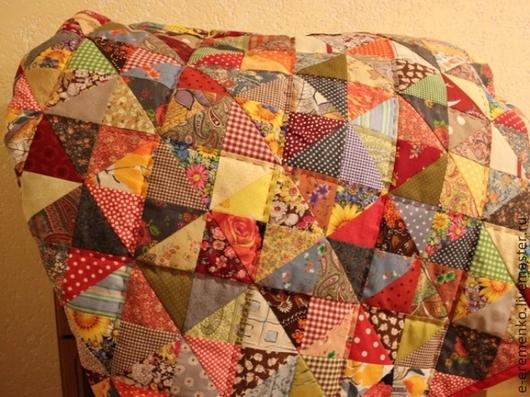 Текстиль, ковры ручной работы. Ярмарка Мастеров - ручная работа. Купить Пёстрый лоскутный плед. Handmade. Лоскутный плед