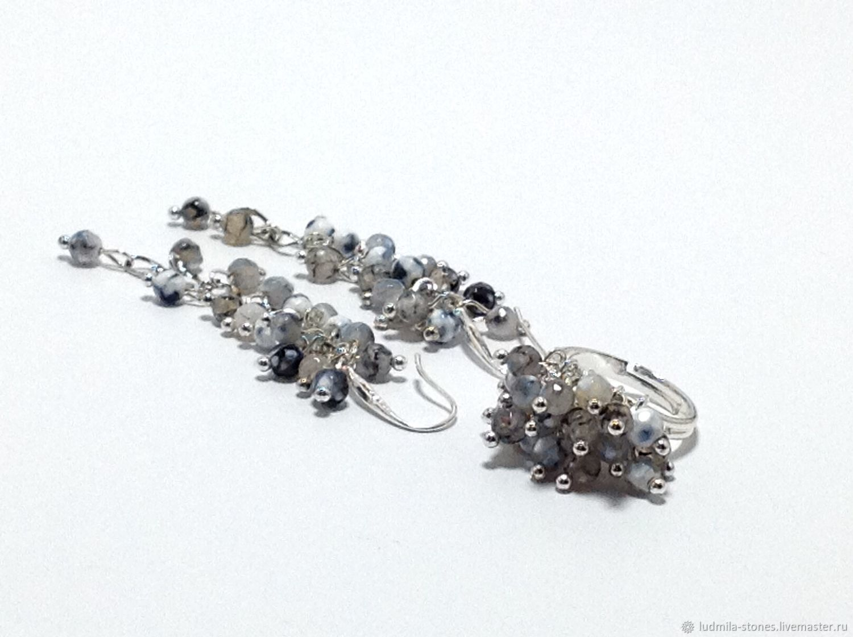 """Серьги и кольцо """"Кто сказал, что скучен серый?"""", Jewelry Sets, Moscow,  Фото №1"""