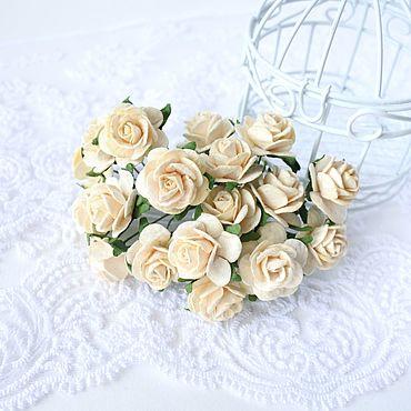 Цветы и флористика ручной работы. Ярмарка Мастеров - ручная работа Бумажные цветы Молочные 2 см Розы для скрапбукинга. Handmade.