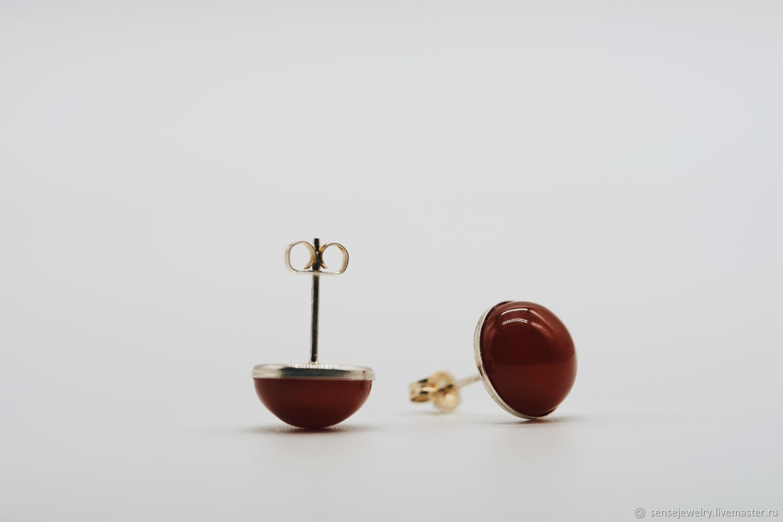 Серебряные серьги-пусеты с натуральным сердоликом, Серьги, Москва, Фото №1