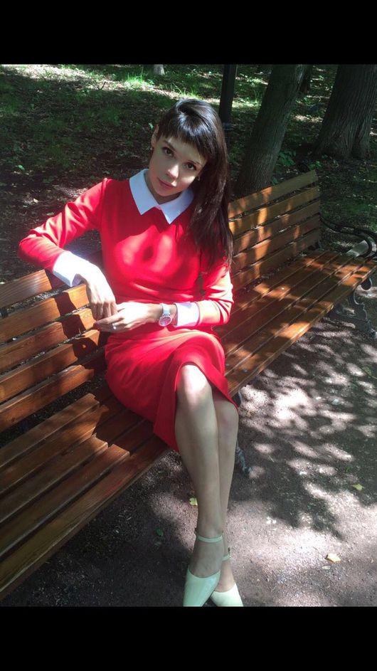 Платья ручной работы. Ярмарка Мастеров - ручная работа. Купить Офисное платье красное с белым воротничком и манжетами. Handmade.