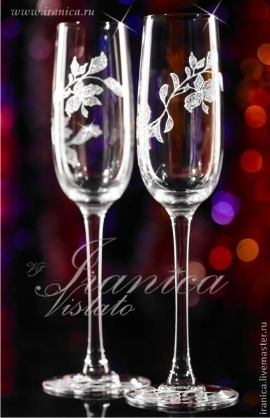 """Свадебные аксессуары ручной работы. Ярмарка Мастеров - ручная работа. Купить Свадебные бокалы """"Vita"""". Handmade. Белый, свадебные фужеры"""