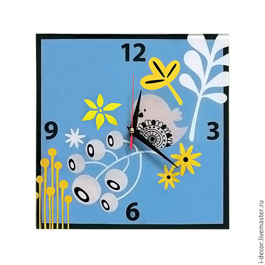 Настенные часы Птички. Детская коллекция. Подарок на Новый год.