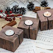 Для дома и интерьера handmade. Livemaster - original item Candle holder in the style of eco rustic with cracks. Handmade.