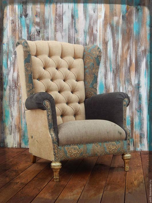 Мебель ручной работы. Ярмарка Мастеров - ручная работа. Купить КРЕСЛО КАМИННОЕ  60. Handmade. Тёмно-бирюзовый, кресло с ушами