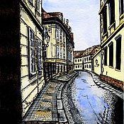 Картины и панно ручной работы. Ярмарка Мастеров - ручная работа Улица в Праге. Handmade.