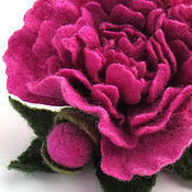 Украшения ручной работы. Ярмарка Мастеров - ручная работа войлочная брошь Пион Розовый джаз. Handmade.