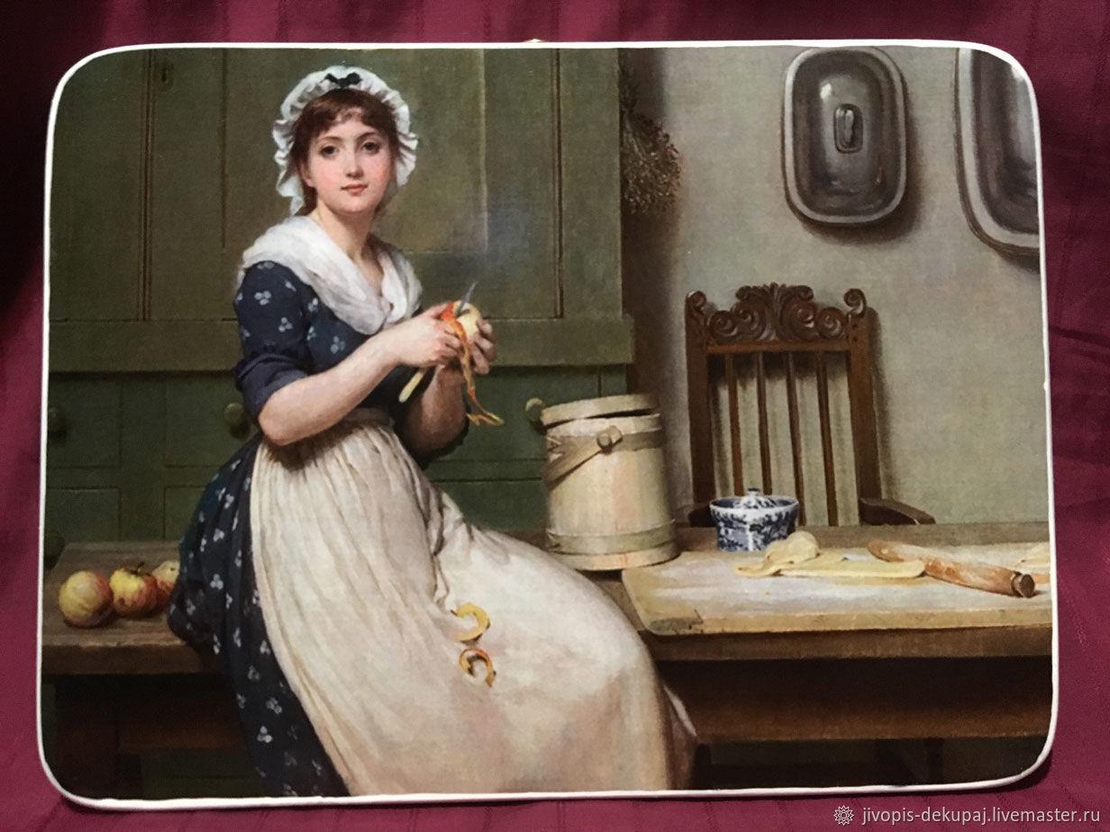 Декоративное панно. Девушка на кухне. С картины Лесли Дж, Картины, Тула, Фото №1