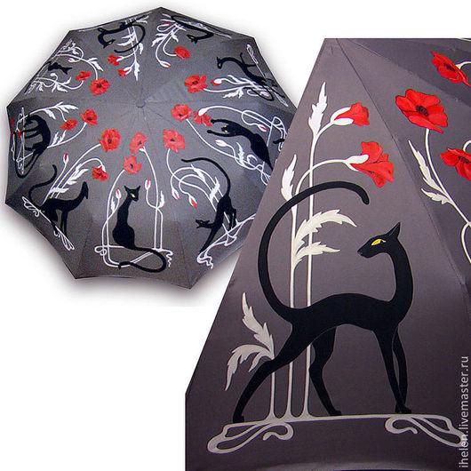 Зонты ручной работы. Ярмарка Мастеров - ручная работа. Купить Зонт про 9 черных персон. Handmade. Серый