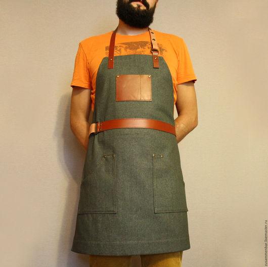 Кухня ручной работы. Ярмарка Мастеров - ручная работа. Купить Фартук бармена №4.. Handmade. Серый, фартук бариста, джинса