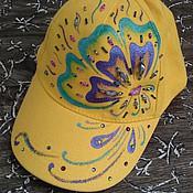 Аксессуары ручной работы. Ярмарка Мастеров - ручная работа Бейсболка желтая 3 варианта. Handmade.