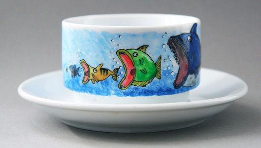 """Сервизы, чайные пары ручной работы. Ярмарка Мастеров - ручная работа. Купить Чайная пара """"Пищевая цепочка"""". Handmade. Рыба"""