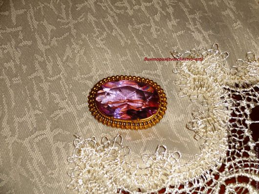 Винтажные украшения. Ярмарка Мастеров - ручная работа. Купить Бохо - брошь овальная. Handmade. Розовый, брошь винтаж, сиреневый, бохо