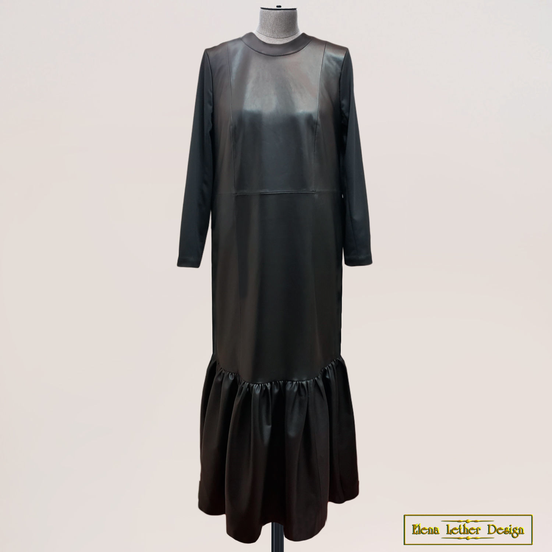 """Платье """"Прямое с оборкой"""" из натуральной кожи и ткани, Платья, Щербинка,  Фото №1"""