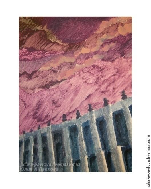 Картина Юлии А.Павловой Петербургское зимнее небо небо картина необычная картина яркая живопись хороший подарок картина для интерьера пейзаж город