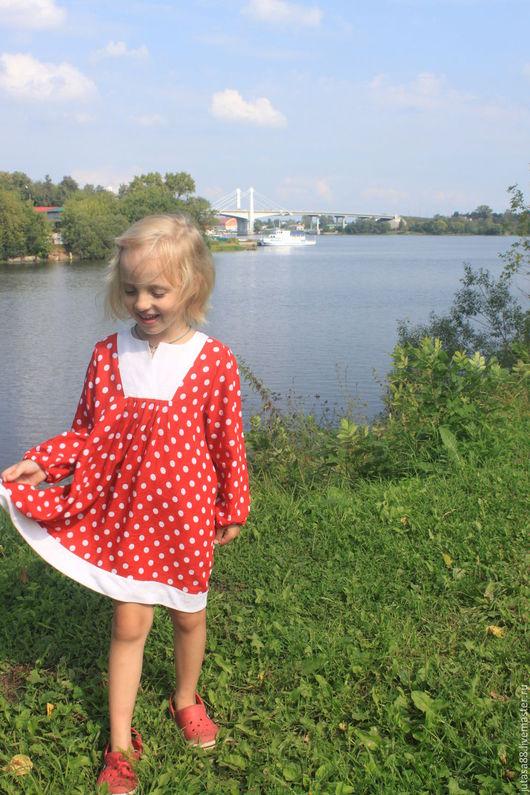 """Одежда для девочек, ручной работы. Ярмарка Мастеров - ручная работа. Купить Платье """"Беата"""" в горошек. Handmade. Ярко-красный"""