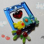 """Сувениры и подарки ручной работы. Ярмарка Мастеров - ручная работа """"Яблочки"""" , стеклянный магнит. Handmade."""