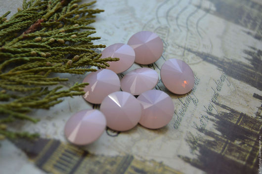 """Для украшений ручной работы. Ярмарка Мастеров - ручная работа. Купить Риволи 14 мм """"Розовый опал"""". Handmade. кристалл"""