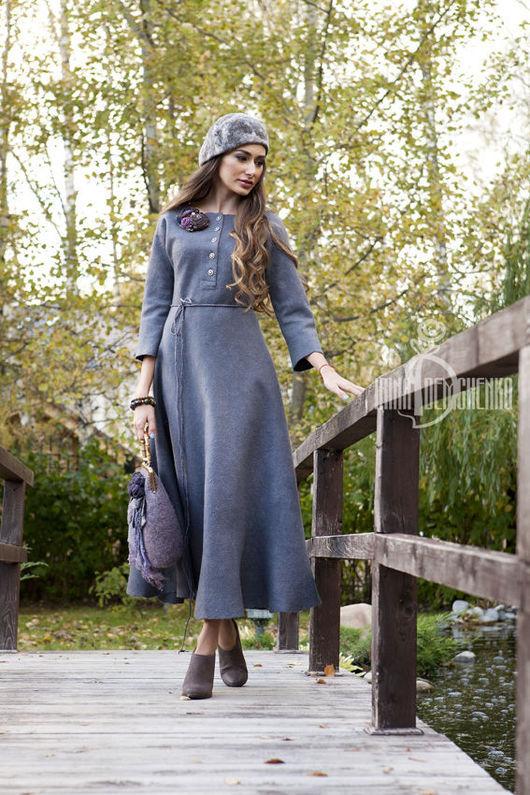 Платья ручной работы. Ярмарка Мастеров - ручная работа. Купить Валяное платье «Морозное утро». Handmade. Серый, авторское платье