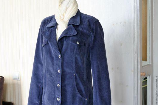 Большие размеры ручной работы. Ярмарка Мастеров - ручная работа. Купить 35 Пиджак синий вельвет хлопок с эластаном 50 52. Handmade.