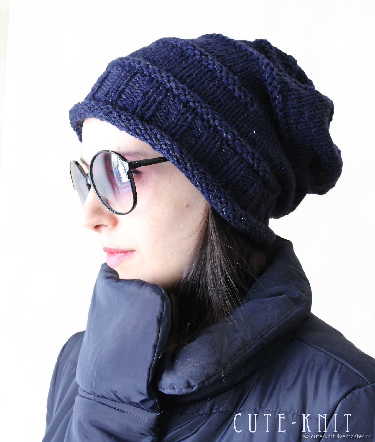 To better visualize the model, click on the photo CUTE-KNIT NAT Onipchenko Fair Masters to Buy a beanie hat blue