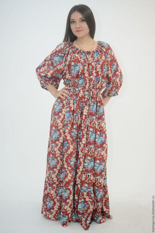 """Платья ручной работы. Ярмарка Мастеров - ручная работа. Купить Платье """"Крестьянка"""". Handmade. Ярко-красный, длинное платье в пол"""