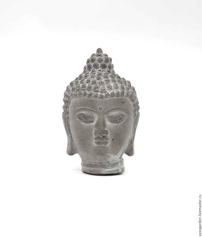 ... Figurines Handmade. Buddha Head Concrete Small For Floriana Mini Garden.