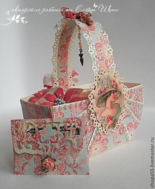 Персональные подарки ручной работы. Ярмарка Мастеров - ручная работа. Купить Коробочка для денег  Корзина с поздравлениями. Handmade. Коробочка для подарка