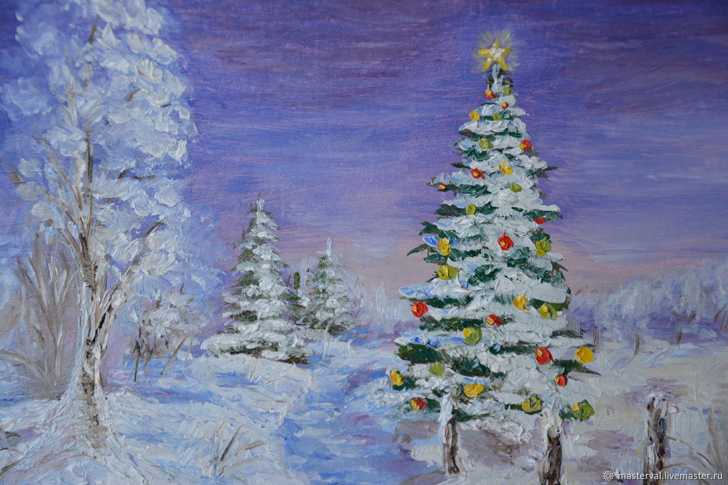 Picture miniature Christmas tree, 20h15, oil, with frame, Pictures, Voronezh,  Фото №1