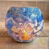 Подарки к праздникам handmade. Livemaster - original item Candlestick,Winter Wonderland,glass candle holder. Handmade.