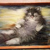"""Картины и панно ручной работы. Ярмарка Мастеров - ручная работа Картина из шерсти """"Кот"""". Handmade."""