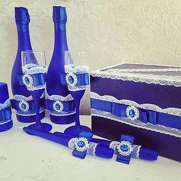 Свадебный салон ручной работы. Ярмарка Мастеров - ручная работа Синий свадебный набор. Handmade.