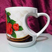 Подарки к праздникам handmade. Livemaster - original item Mug-heart